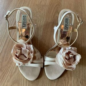 Badgley Mischka Champagne Wedge with Rosettes